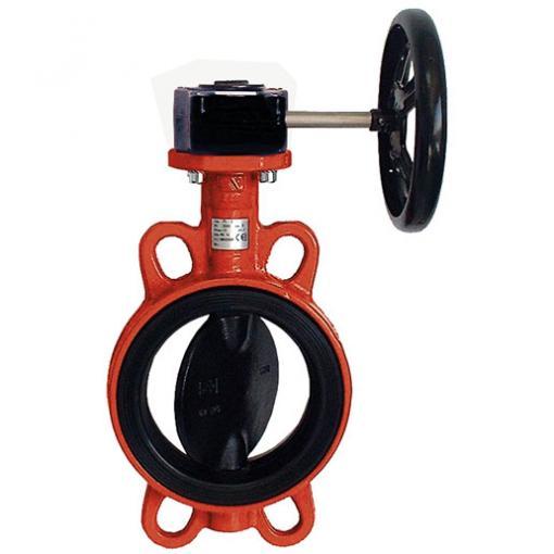 HYDRO Typ GH für Abwasser: Einklemmklappe mit Getriebe und Handrad